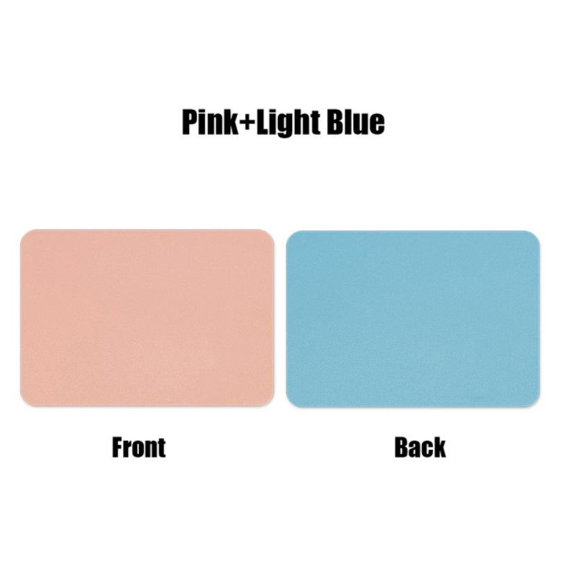Mouse  Pad  Double-sided  Non-slip Plain Color Waterproof Leather Gaming Mouse Mat Pink+blue