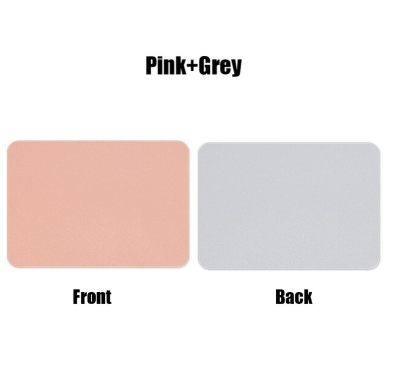 Mouse  Pad  Double-sided  Non-slip Plain Color Waterproof Leather Gaming Mouse Mat Pink+gray