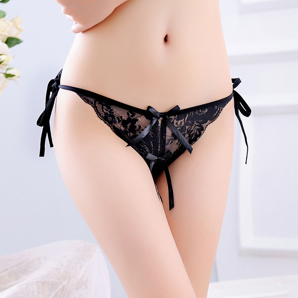 Women Lace G-string Thong Bowknot Adjustable Ribbon Sexy Underwear Erotic Briefs Temptation Panties Black_One size