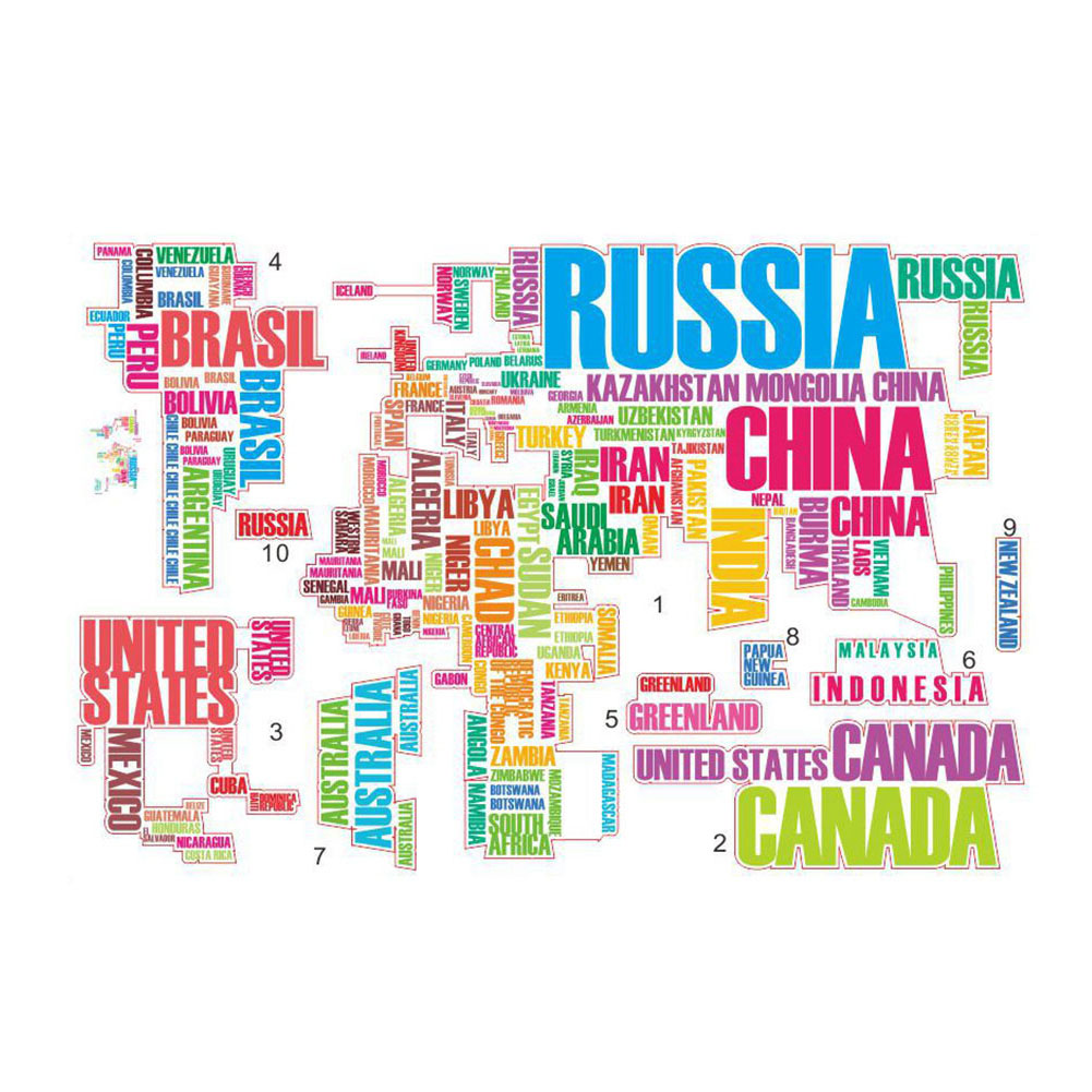 English Words World Map Classroom Home Wall Removable Sticker PVC Art Decal Decor Poster