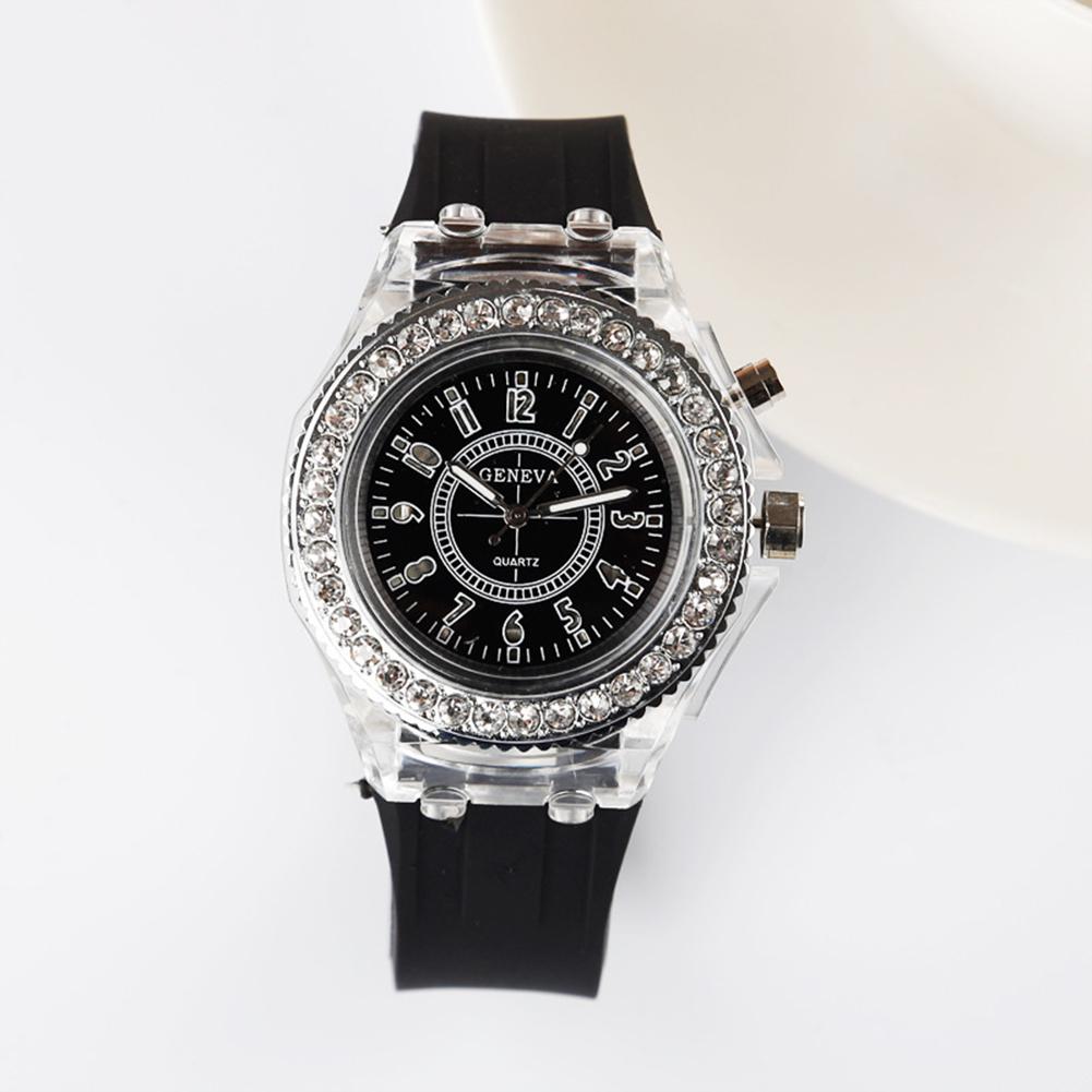 Fashion Casual Silica Gel Band Watch Lovers Luminous Quartz Watch black