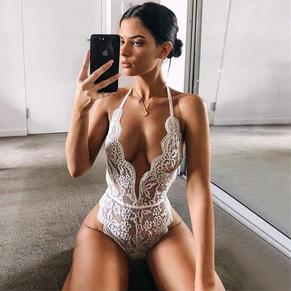 Women Lingerie Plus Size Sexy Hot Erotic Dress Lace Porno Underwear Transparent Sex Costumes white_S