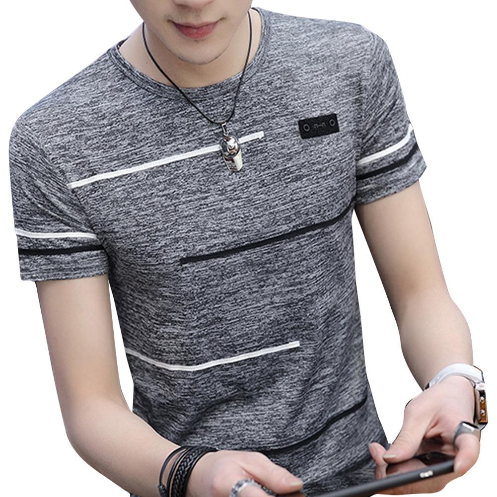 Men Short Sleeve Fashion Printed T-shirt Round Neck Tops gray_XL