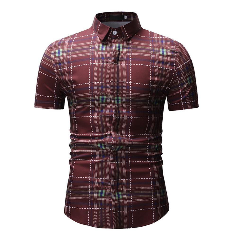 Men Spring Summer Short Sleeve Plaid Casual Slim Shirt Tops red_XL