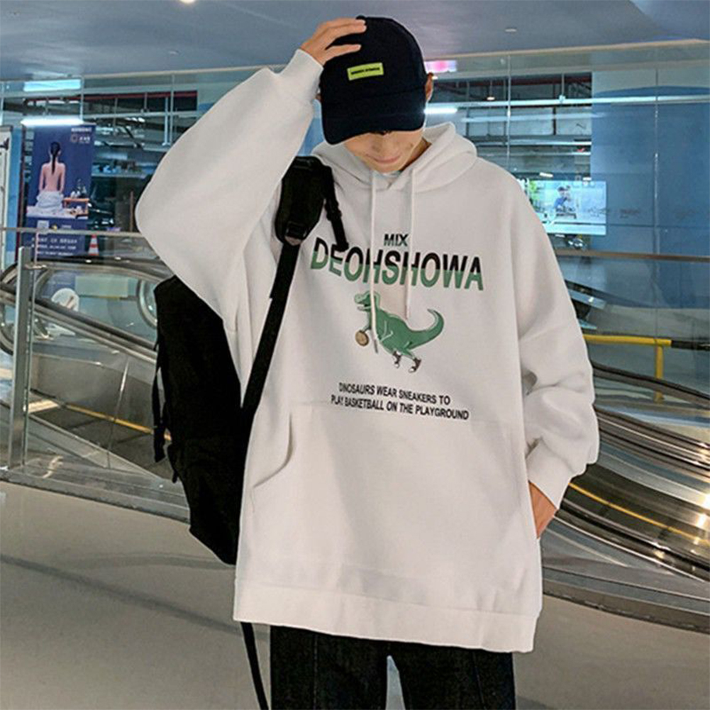 Men Women Hoodie Sweatshirt Thicken Velvet Dinosaur Loose Autumn Winter Pullover Tops White_XXL