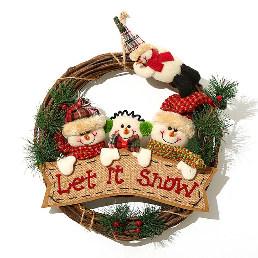 Christmas  Wreath Santa Claus Snowman Door Hanging Round Wooden Pendant Christmas Ring CX17086 Snowman Group