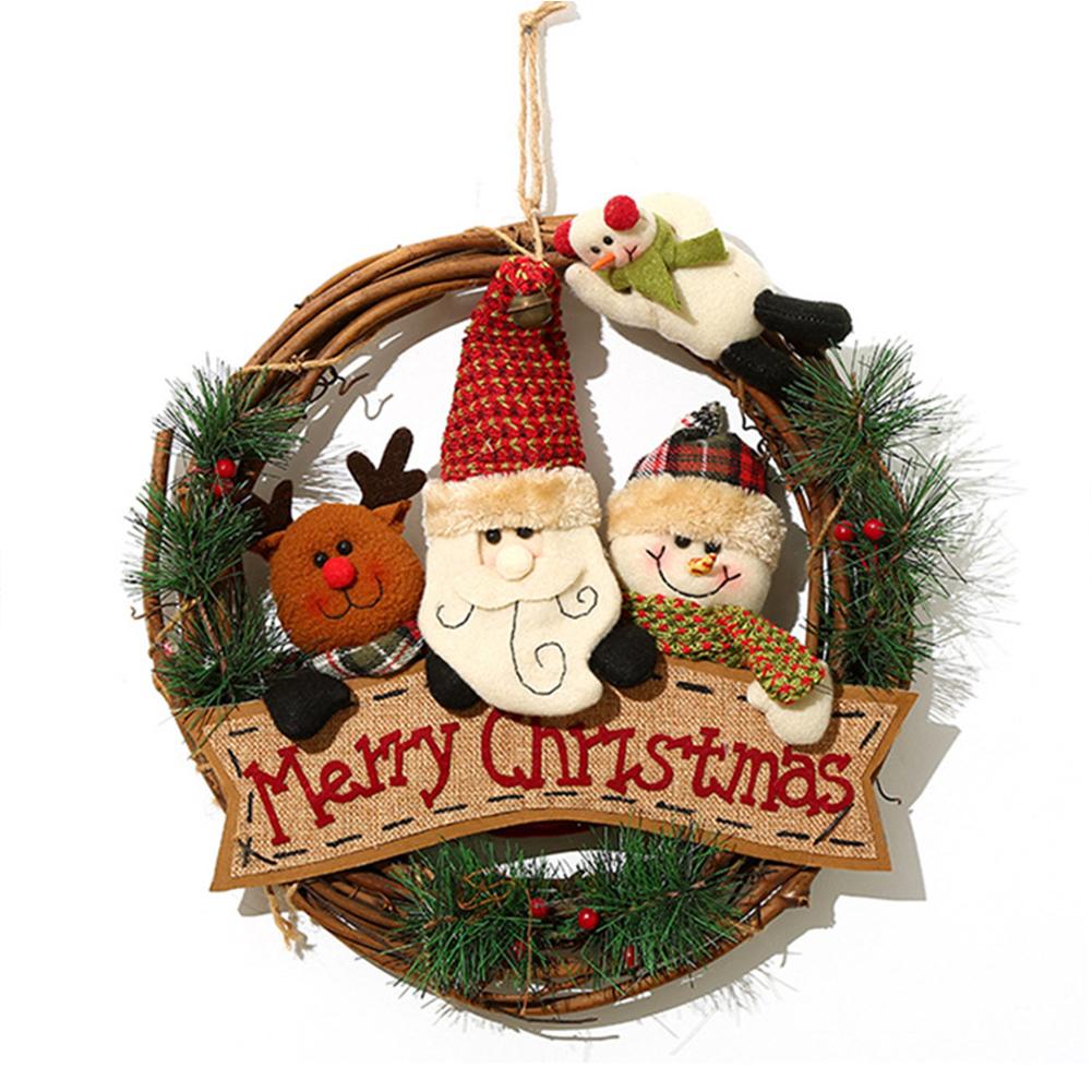 Christmas  Wreath Santa Claus Snowman Door Hanging Round Wooden Pendant Christmas Ring CX17086 Elderly Group