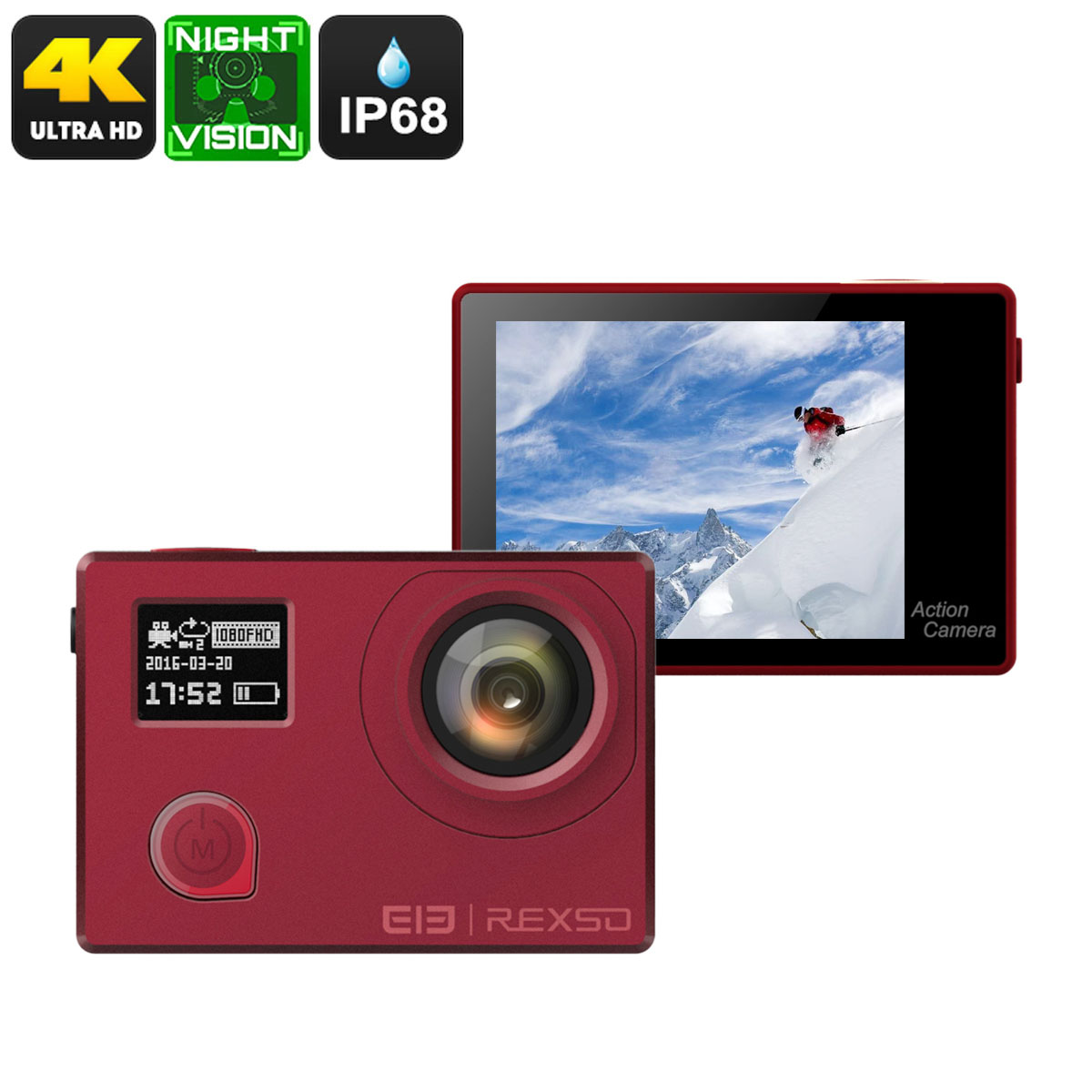 Elephone REXSO Explorer 4K Camera (Red)