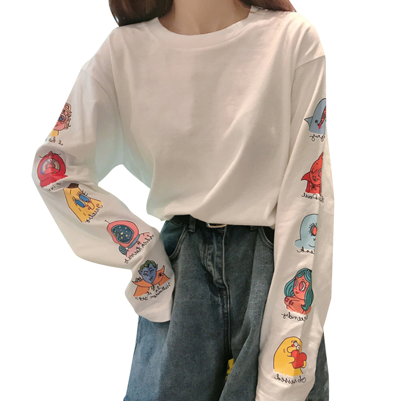 Women Long Sleeve T-shirt Cartoon Crew Neck Loose Funny Casual Pullover Tops white_XL