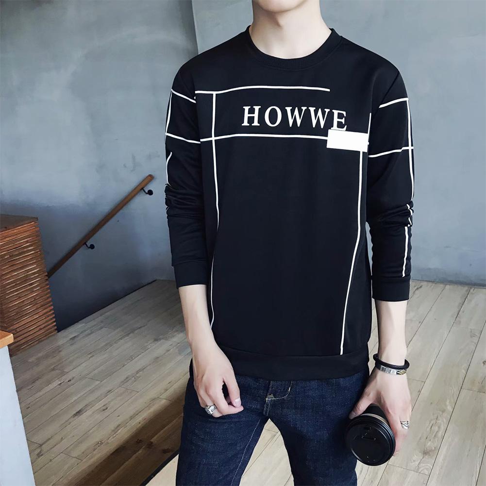 Men Autumn Fashion Slim Long Sleeve Round Neckline Sweatshirt Tops D113 black_L