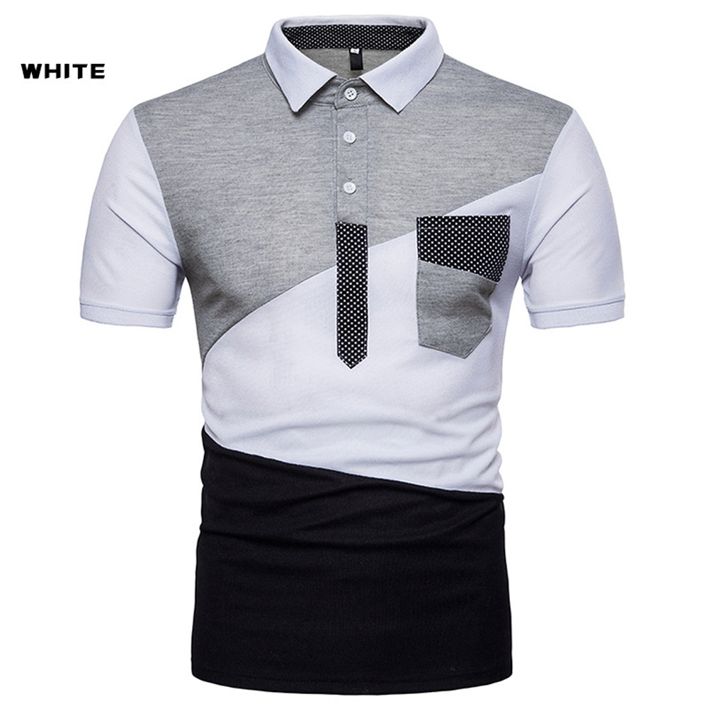 Male Short Sleeves and Turn-Down Collar Pullover Contrast Color Top Polo Shirt white_M