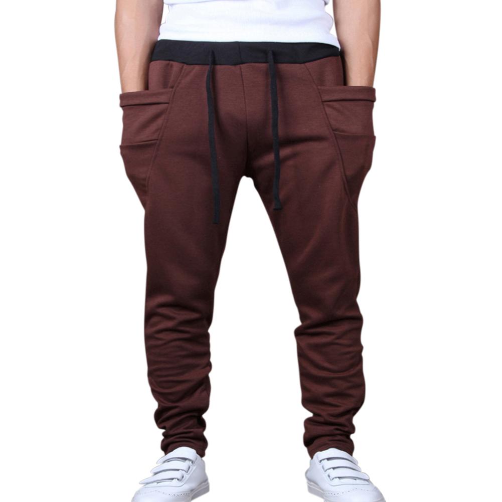 Men Solid Color Middle Waist Casual Harem Pants coffee_L(30-31)