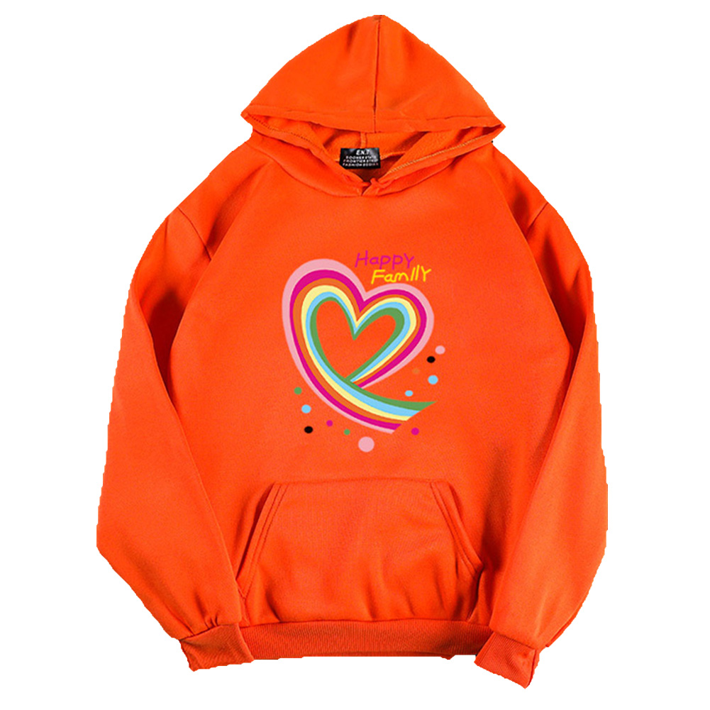 Men Women Hoodie Sweatshirt Happy Family Heart Thicken Autumn Winter Loose Pullover Tops Orange_L