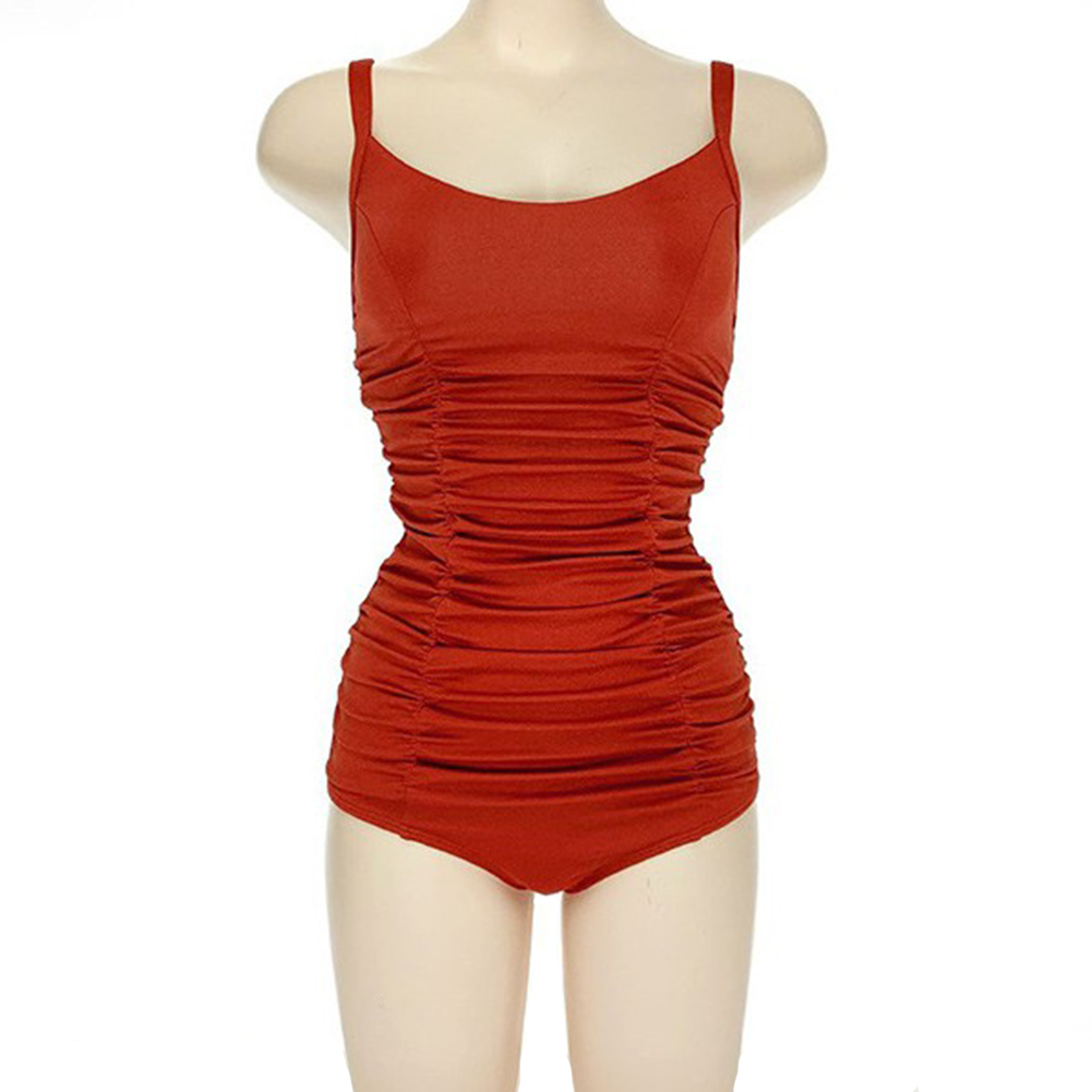 Women Swimsuit Nylon Pleated Multi-layer Backless One-piece Swimsuit red_l