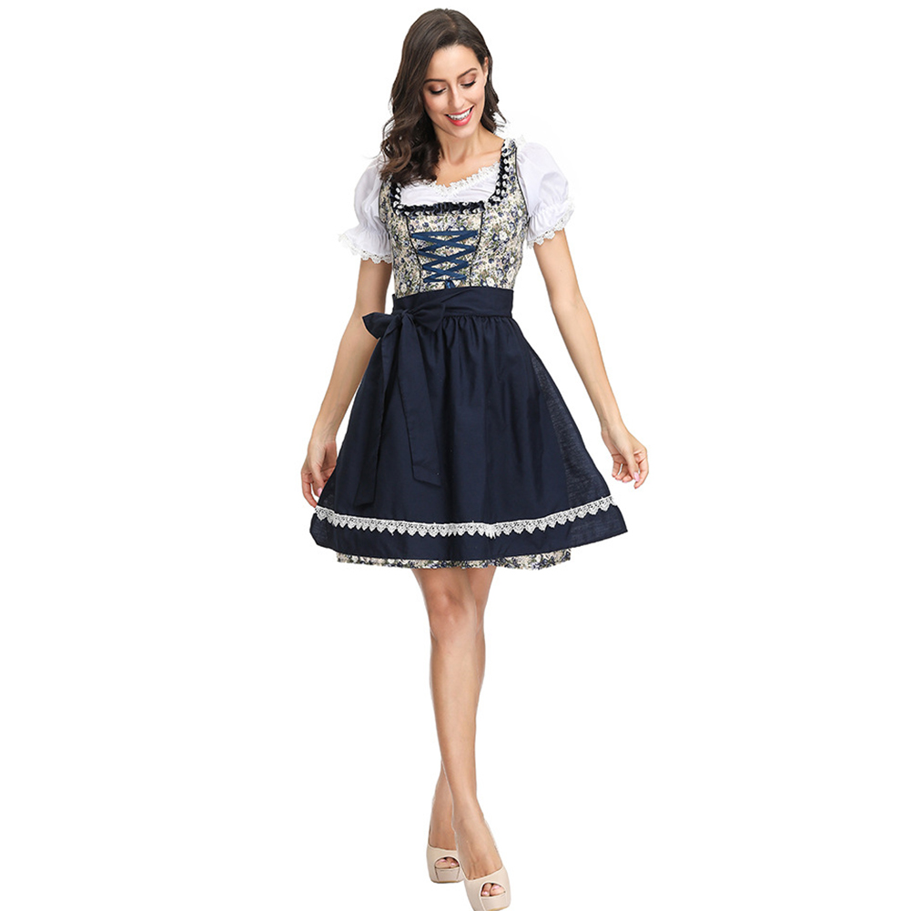 Women Flower Pattern Oktoberfest Dirndl Dress Costume Beer Festival Dress Suit 4122_L
