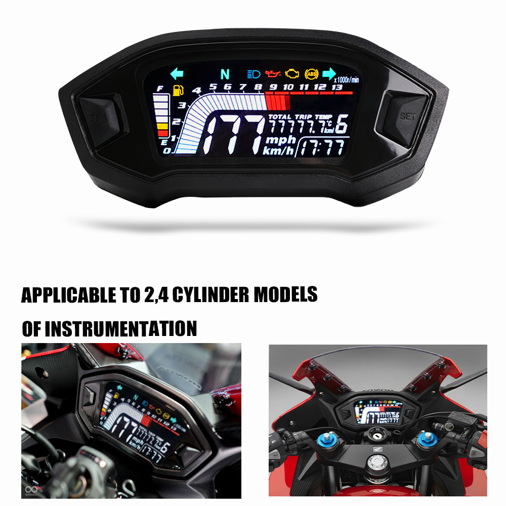 Motorcycle Lcd Colors Display Odometer Water Temperature Speedometer Universal Accessories black