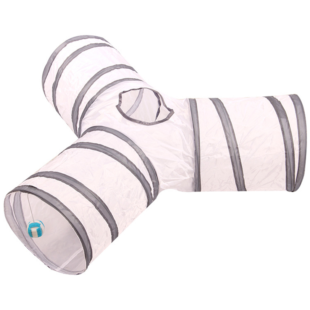 3/4 Holes Foldabe Pet Cat Tunnel Indoor Outdoor Pet Cats Training Toys Play Tunnel Tubes  Gray and white striped Y-shaped