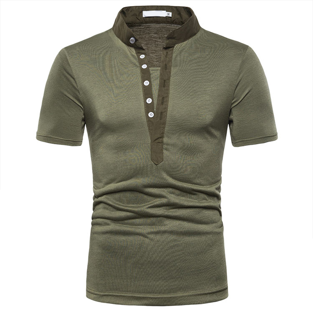 Fashion Men Slim Fit V Neck Short Sleeve Muscle Tee T-shirt  Army Green_L
