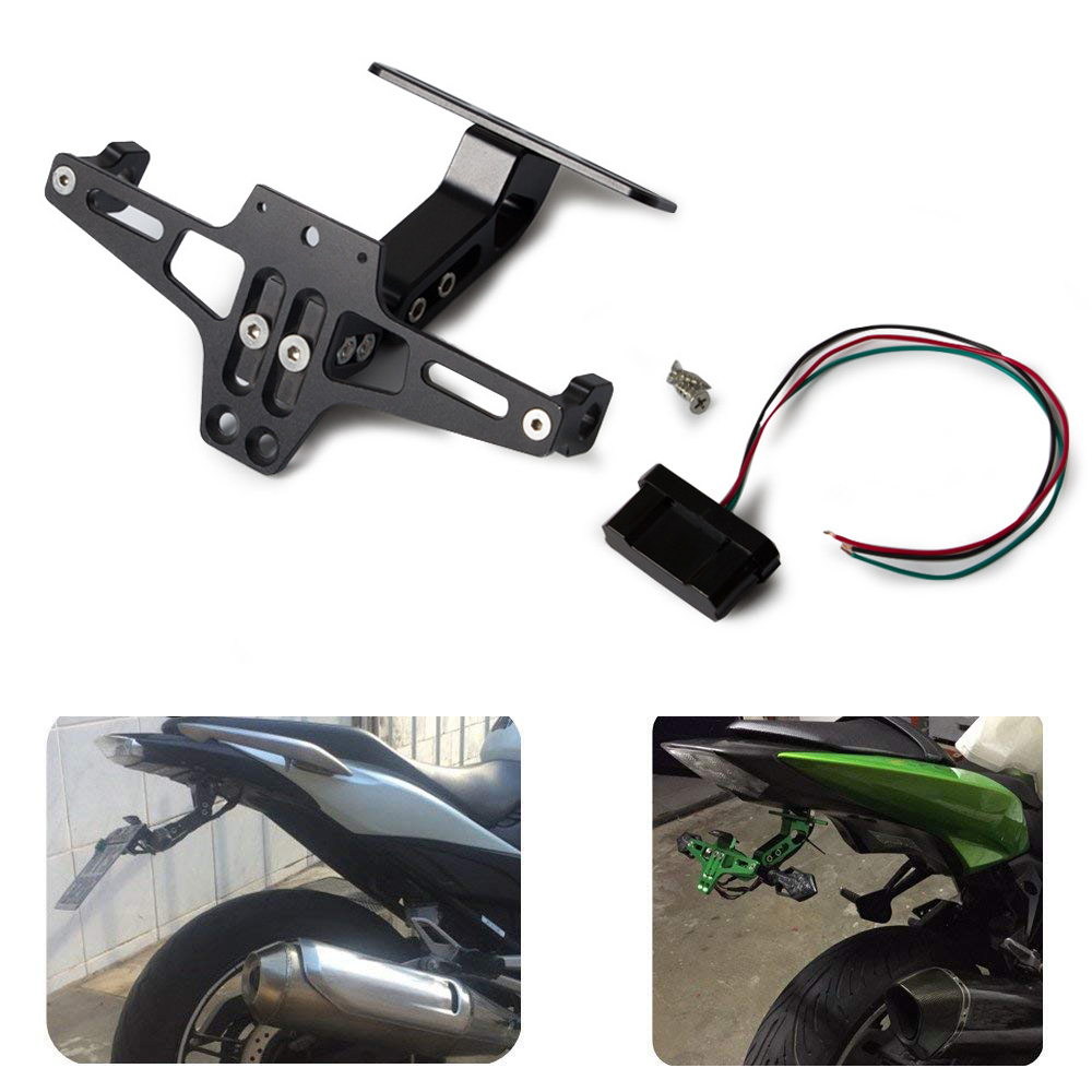 Motorcycle Rear License Plate Mount Holder with Turn Signal Light Universial License Plate Frame black