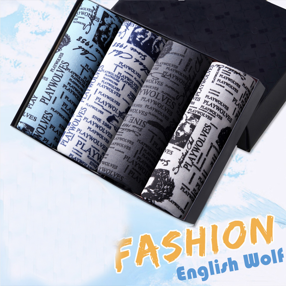 4pcs/set Man Underwear Box-packed Fashion Breathable Colorful Boxers Wolf_XXL