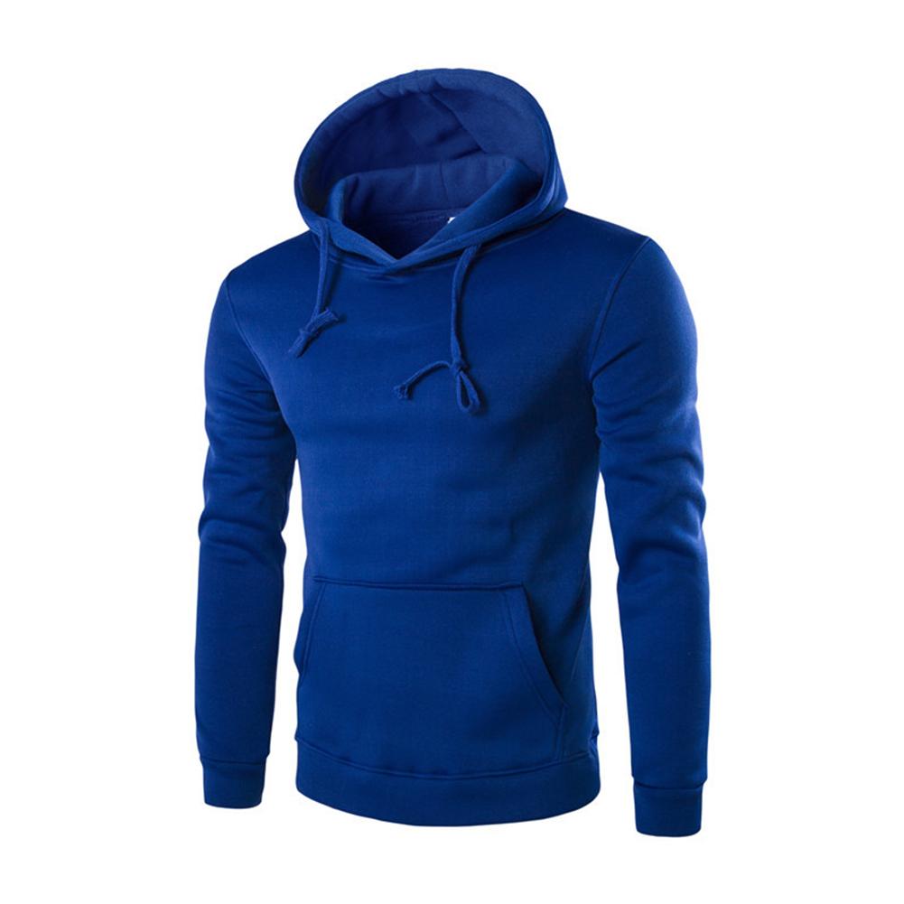 Unisex Fashion Hoodies Pure Color Long Sleeved Hoodies blue_XL
