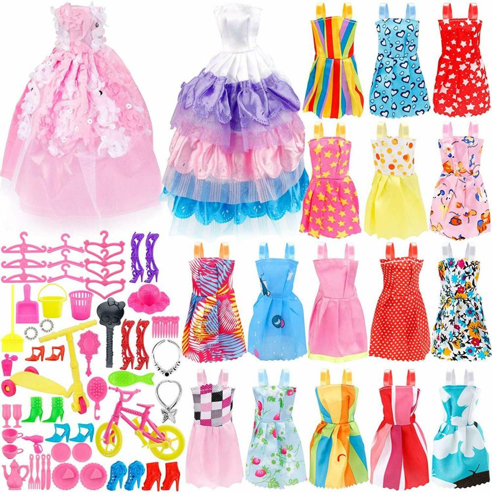 73Pcs Doll Clothes Party Gown Shoes Bag Necklace Hanger Toy Accessories Random Color
