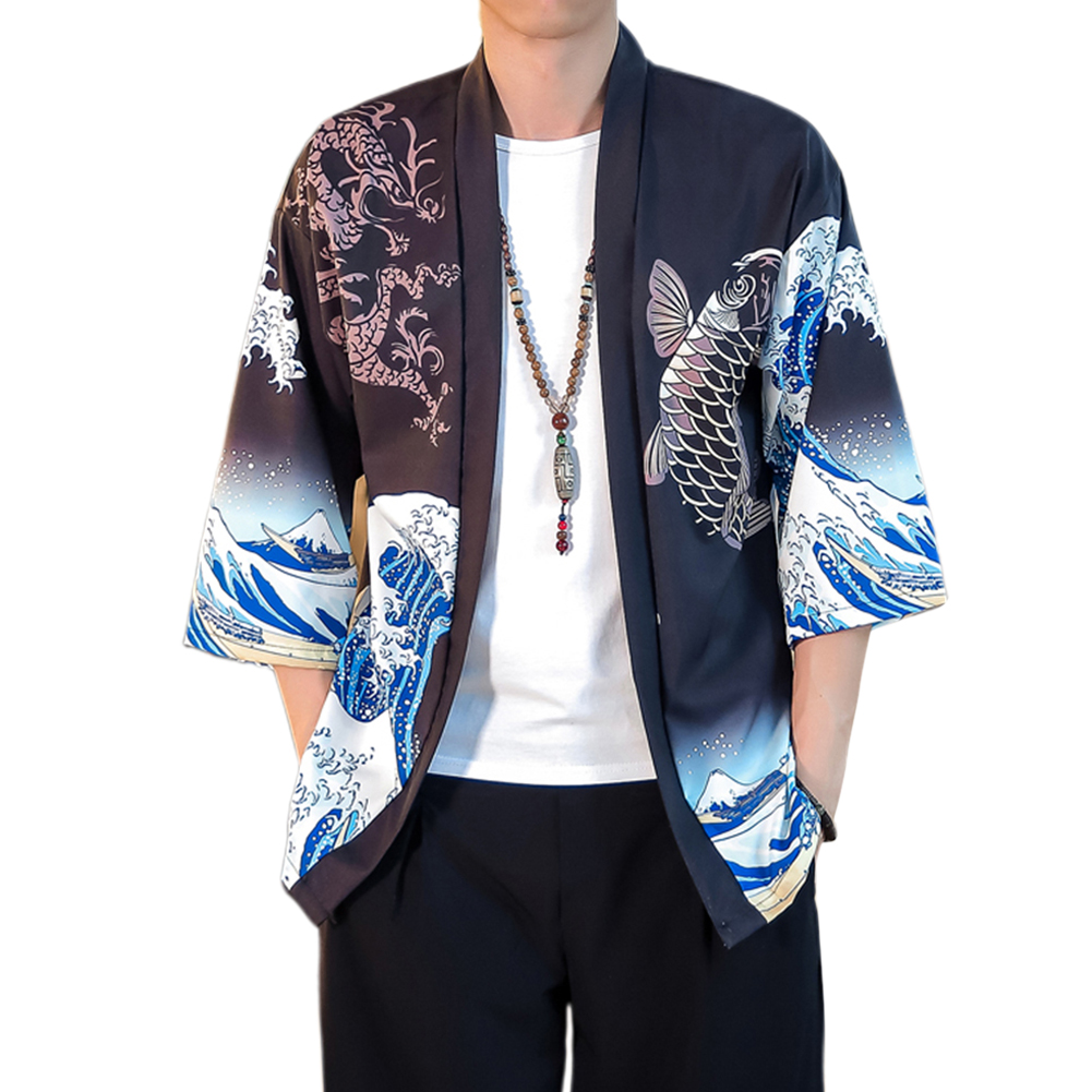 Summer Spring Man Casual Shirts Large Size Pure Color Middle Sleeve Loose Tops  Black_L