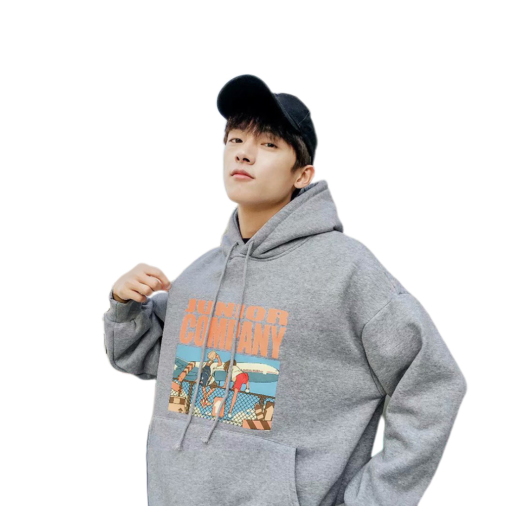 Women Cartoon Letters Printed Loose Long-Sleeved Casual Hoodie for Campus Dating gray_XL