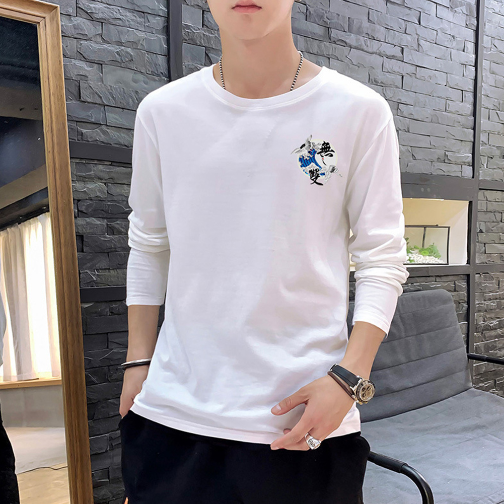 Men Autumn and Winter Long Sleeve Round Neckline Print Solid Color Cotton T-Shirt Tops white_M