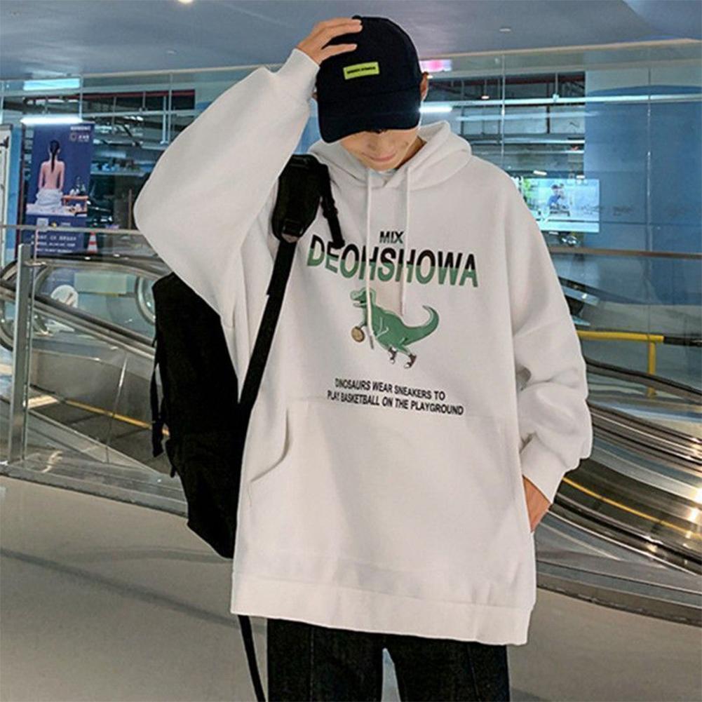 Men Women Hoodie Sweatshirt Thicken Velvet Dinosaur Loose Autumn Winter Pullover Tops White_M
