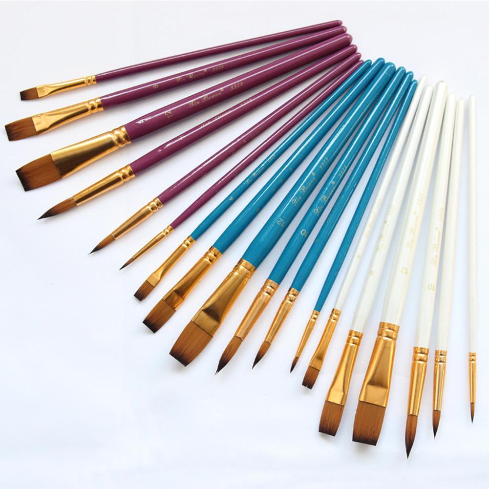 6pcs/set Nylon Brush Set Gold-plated Aluminum Tube Oil Brush
