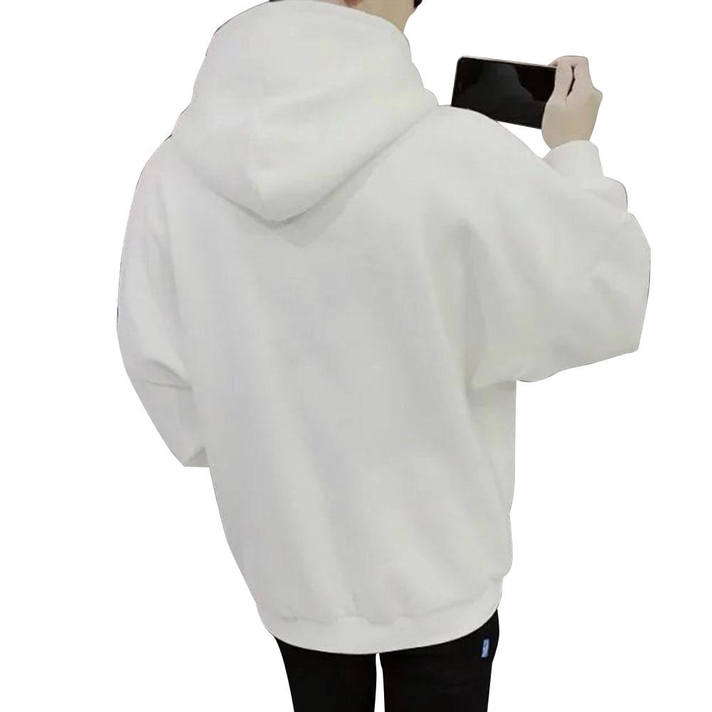 Men Kangaroo Pocket Plain-Colour Sweaters Hoodies for Winter Sports Casual  Pure white_L