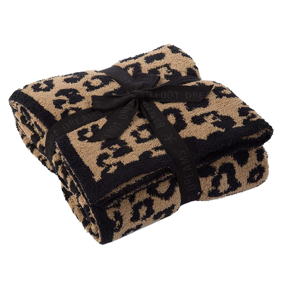 Leopard Print Throw  Blanket For Women Girls Teens Children Fleece Blanket For Bed Crib Couch Black Leopard