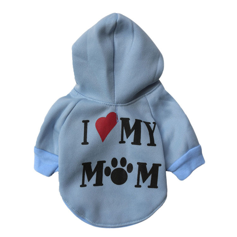 Cute I Love My Mom Pattern Puppy Pet Cotton Sweatshirt Hoodies Dog Casual Clothes
