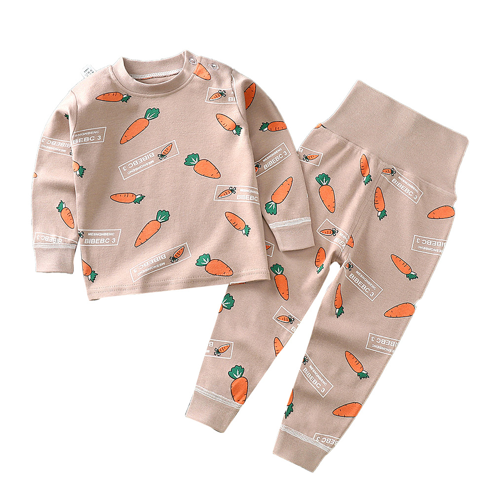 2Pcs/Set Kids Home Wear Cotton Long Sleeve Tops High Waist Pants for Baby Girls Boys Khaki_90