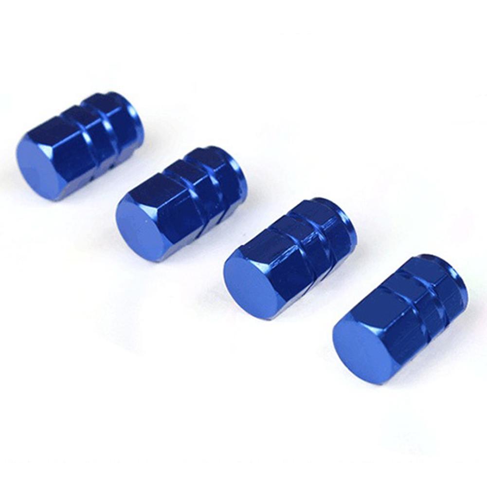 4Pcs Blue Aluminum Alloy Car Tire Wheel Cap Valve Cover Fine Seal Dust-proof Air Valve Caps Blue