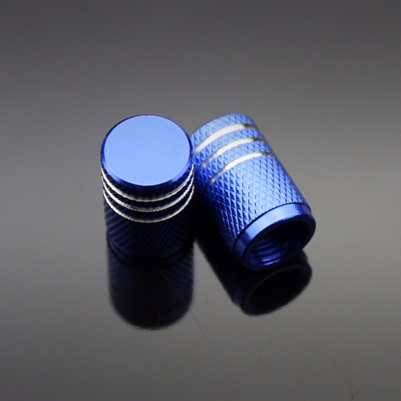 4PCS Color Aluminum Car Tire Valve Cap Wheel Hub Valve Cover Auto Accessories blue