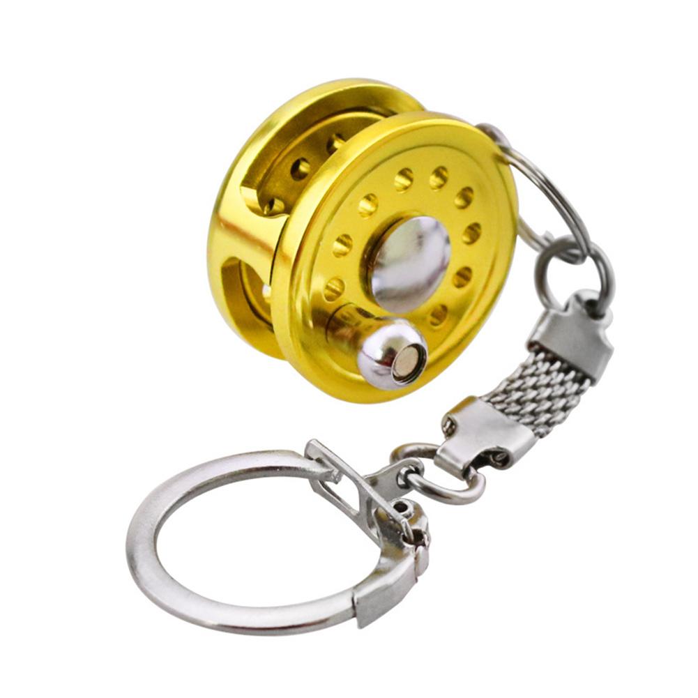 Fish  Reel   Keychain Golden Fisherman Spinning Fishing Reel Charactor Miniature Raft reel pendant