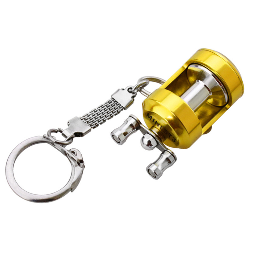 Fish  Reel   Keychain Golden Fisherman Spinning Fishing Reel Charactor Miniature Drum reel pendant