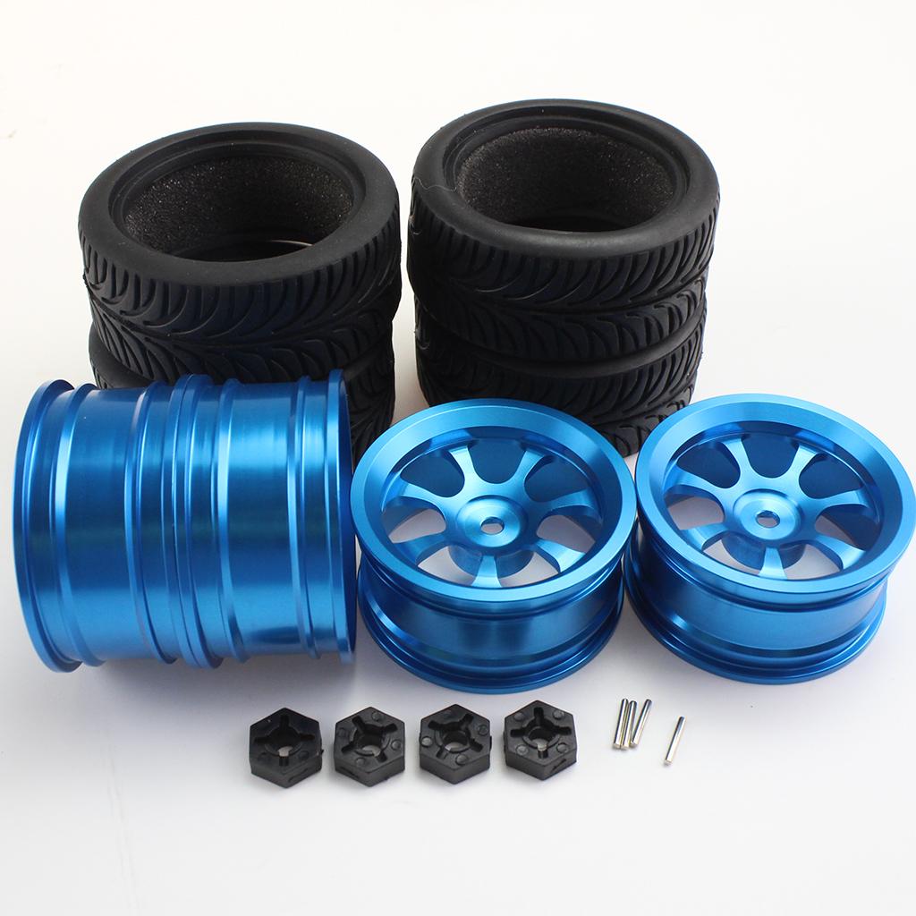 4PCS Rim and Tires with Adapter for WLtoys 1/14 144001 RC Car Parts Aluminium Alloy Wheels Upgrade Parts 4PCS