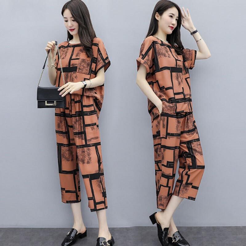 2pcs/set Women Casual Suit short-sleeved Top Long Pants Summer Fashion Wear Ladies Clothing Light Brown_XL