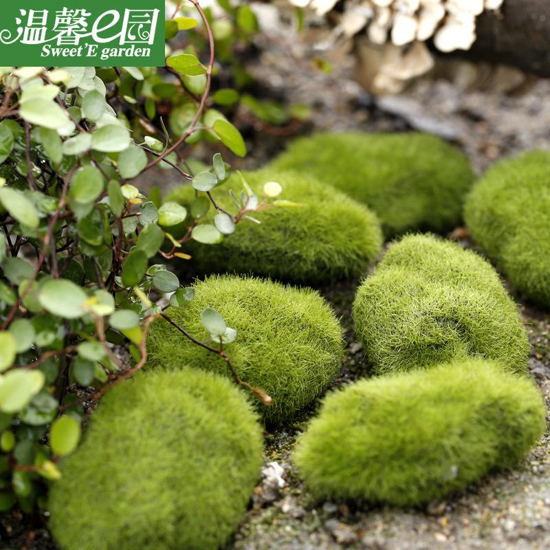 Miniature Moss Stone Artificial  Moss Lawn Micro Landscape Ornament Garden Diy Decoration About 10cm larger