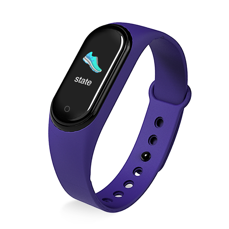 M5 Smart Sports Bracelet Band Sport Watch Vzheart Rate Blood Pressure Oxygen Monitoring Call Reminder Fitness Bracelet purple