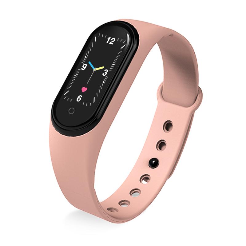 M5 Smart Sports Bracelet Band Sport Watch Vzheart Rate Blood Pressure Oxygen Monitoring Call Reminder Fitness Bracelet Pink
