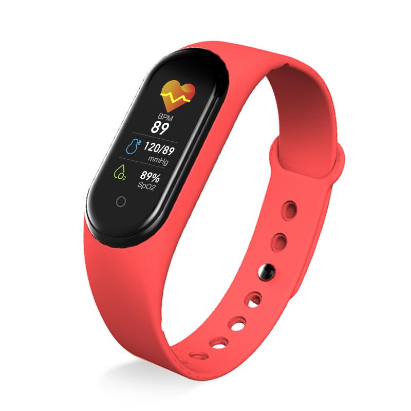 M5 Smart Sports Bracelet Band Sport Watch Vzheart Rate Blood Pressure Oxygen Monitoring Call Reminder Fitness Bracelet red