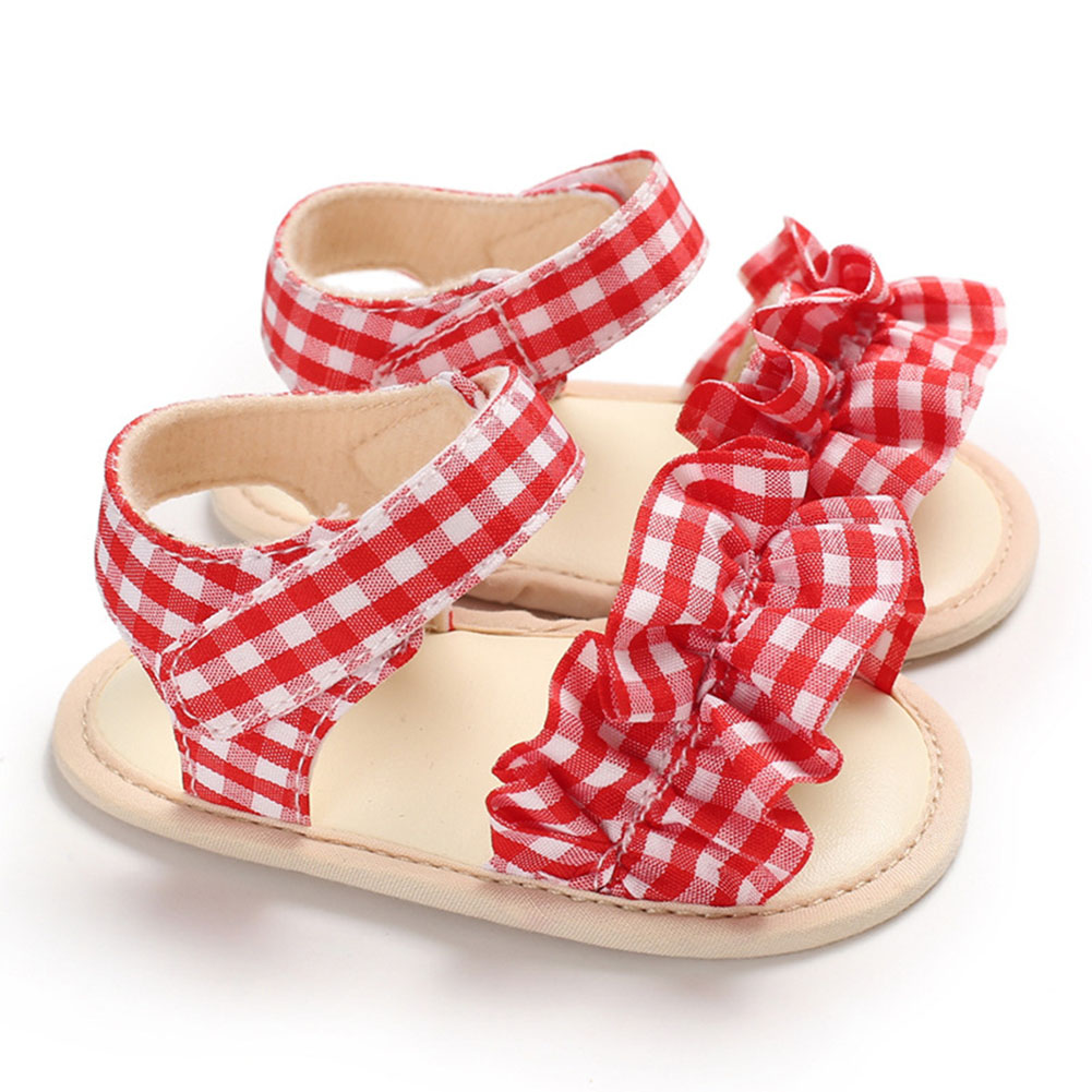 Cute Plaid Soft Rubber Sole Princess Sandals for Baby Infant Girls red_Inside length 11 cm