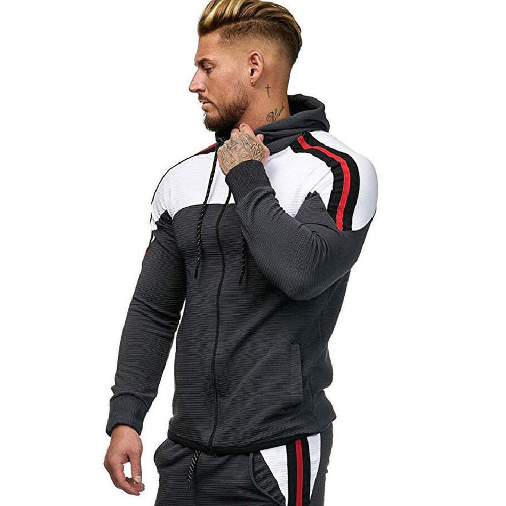 Men Autumn Winter Zipper Striped Patchwork Long Sleeve Hoodies for Sports Casual  Dark gray_XL
