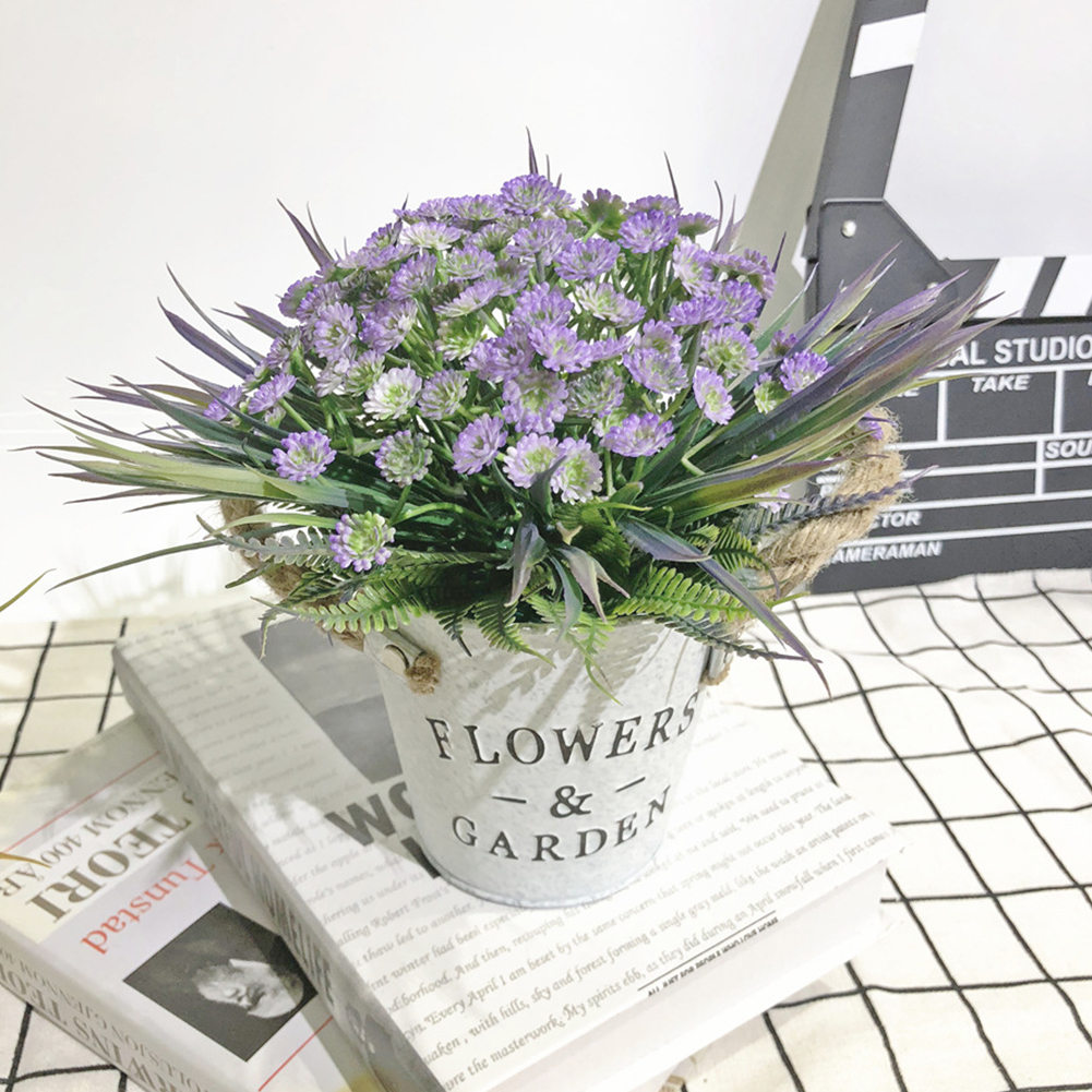 Artificial Babysbreath Plant Potted with Letters Printing Metal Bucket for Decoration purple