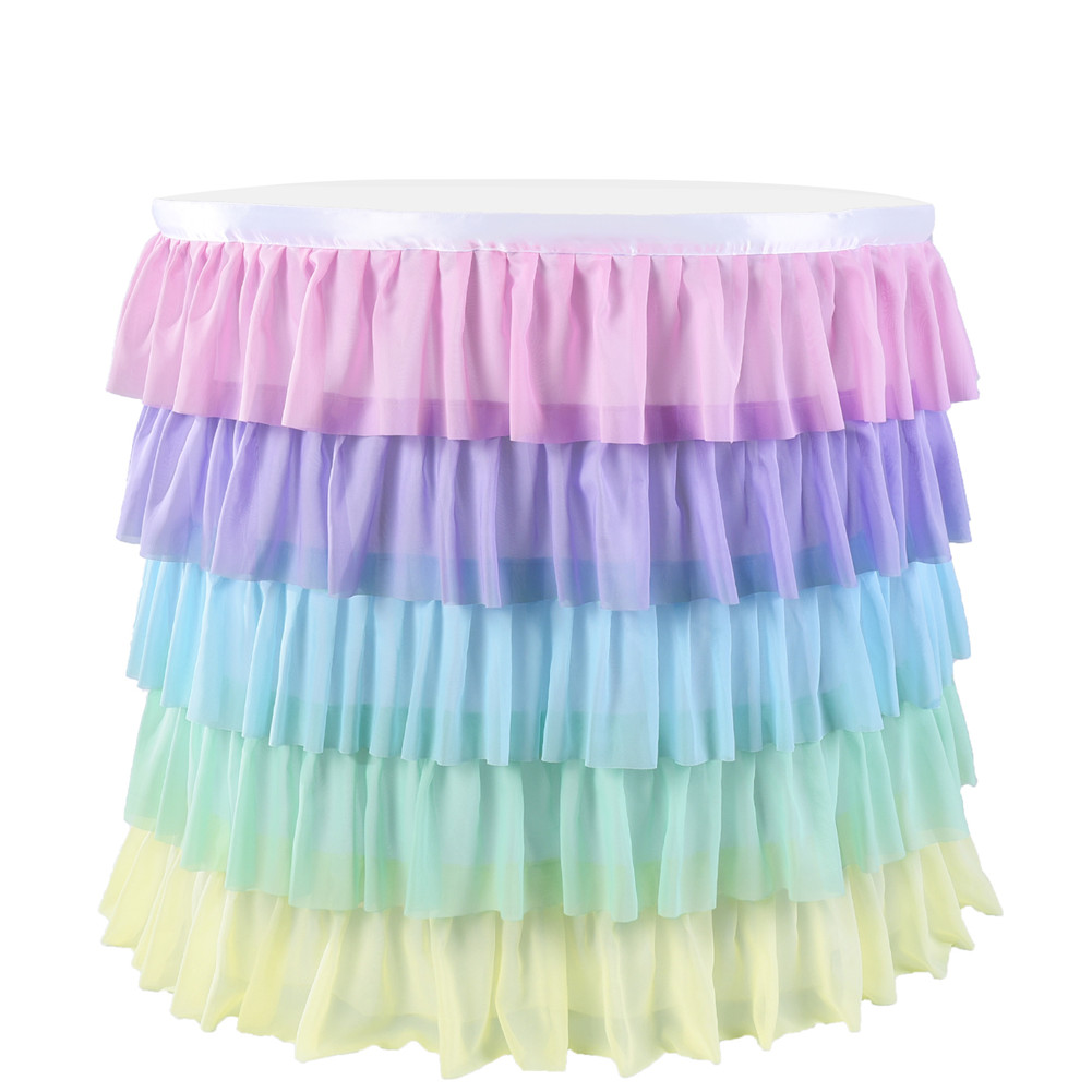 5 Layers Wavy Spliced Chiffon Table Skirt for Wedding Party Decoration color_6FT