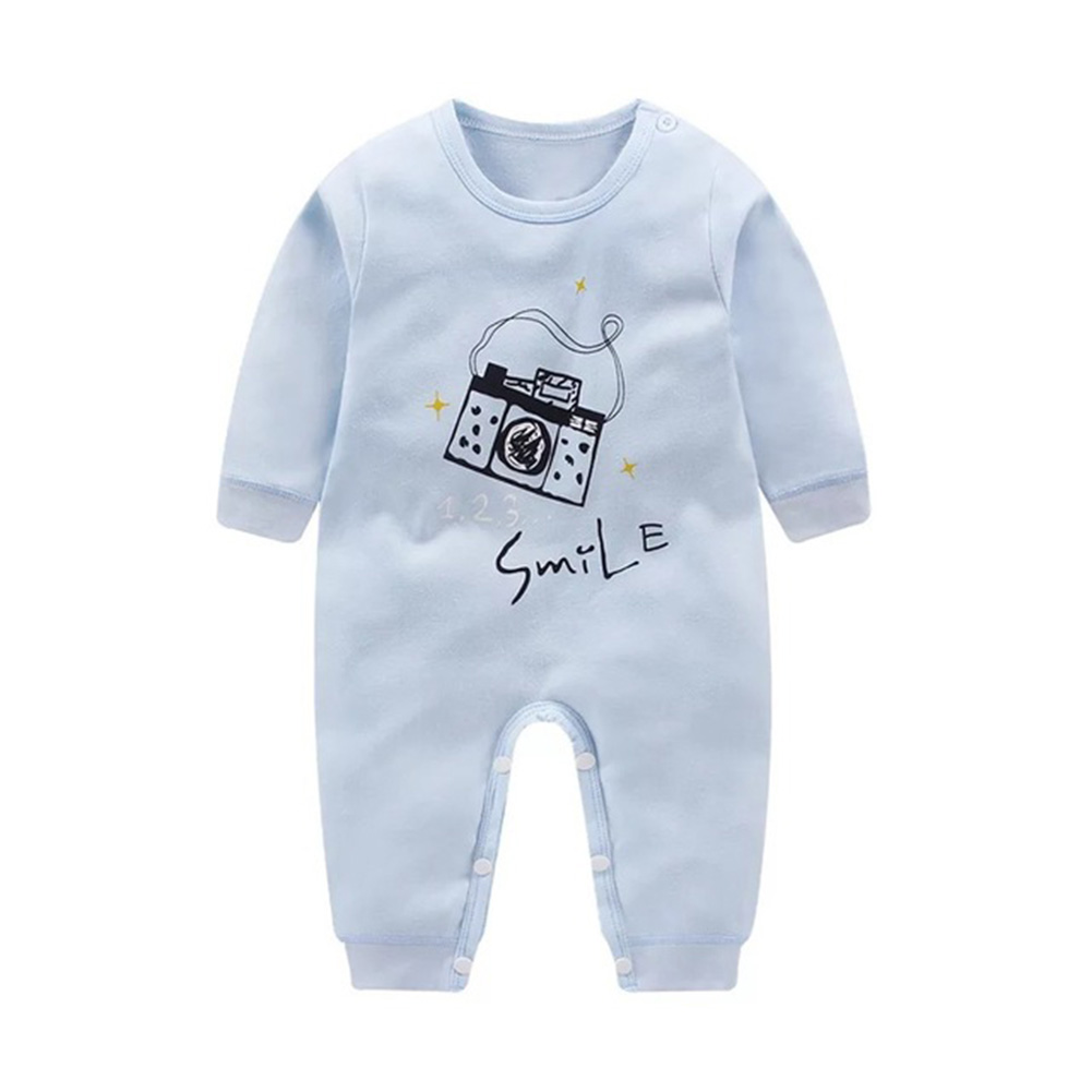 Cartoon Long Sleeve Cotton Jumpsuit for Kids Baby Boys Girls blue camera_66cm